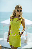 Желтое льняное летнее Платье Софи