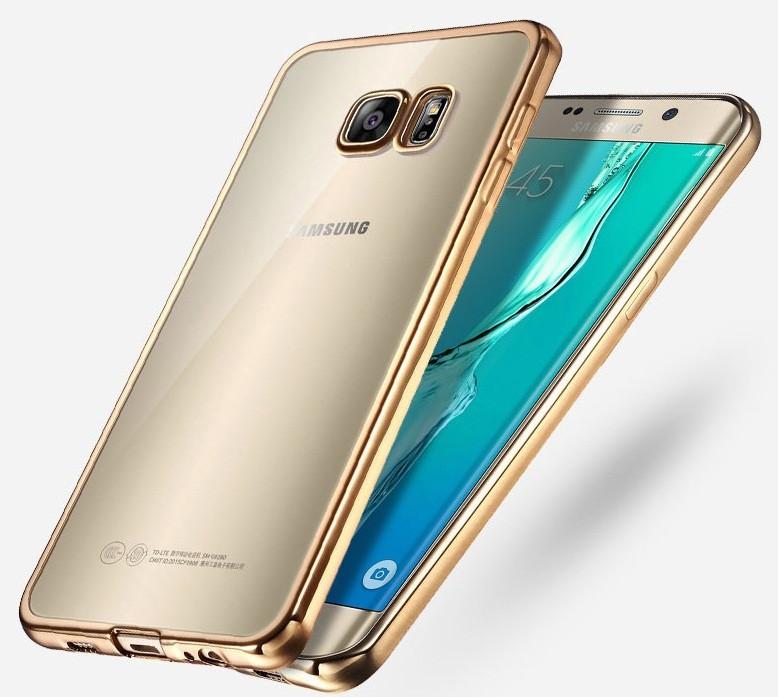 Чехол для Samsung S6 Edge G925 силиконовый с хромированным ободком