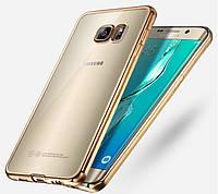 Чехол для Samsung S6 Edge G925 силиконовый с хромированным ободком, фото 1