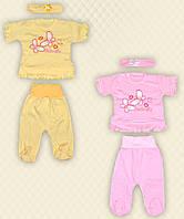Комплект для девочек: футболка, ползуны, повязка интерлок