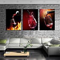 """Модульная картина """"Вино"""" 40х55 см.3 шт."""