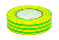 Изолента ПВХ,зелёно-жёлтая, 19 мм х 20 м