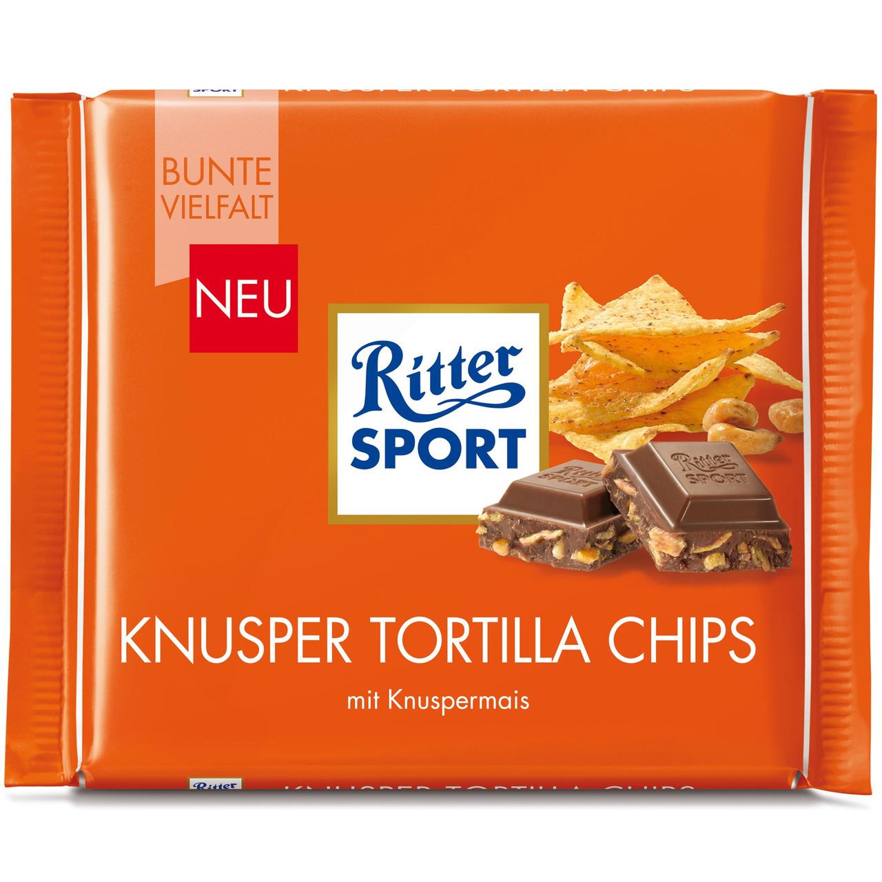 Шоколад Ritter Sport Knusper Tortilla Chips (Риттер Спорт с чипсами), 100 г