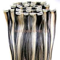 Набор натуральных волос на клипсах 52 см. Оттенок №1b-613. Масса: 130 грамм., фото 1
