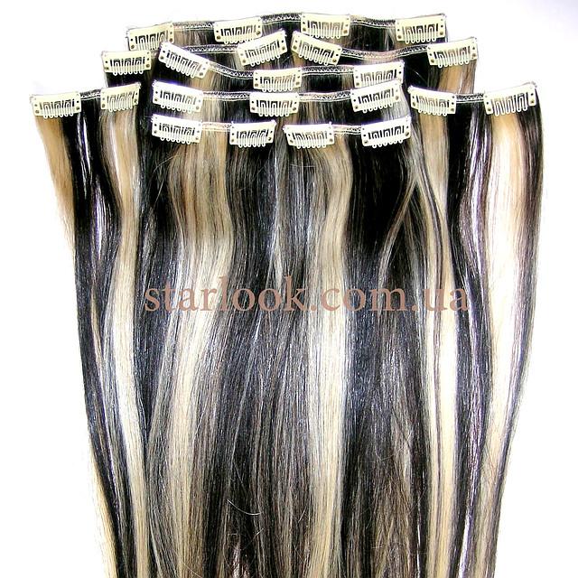 Набор натуральных волос на клипсах 50 см оттенок №1b-613 160 грамм, фото 1