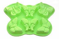 Форма для выпечки силиконовая 6 кексов (бабочки) салатовая