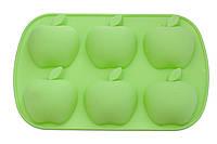 Форма для выпечки силиконовая 6 кексов (яблоки) зеленая