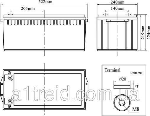 Аккумуляторная батарея SANTAKUPS FCG 12-200 (Gel) гелевая, фото 2