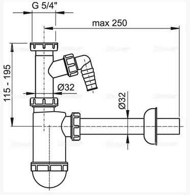 """Сифон для умывальника d32 с подводкой и накидной гайкой 5/4"""" A430P Alco Plast Алько Пласт, фото 2"""