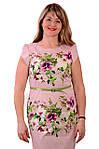 Розовое платье с цветами , 3 D эффект , хлопок , Пл 034., фото 2