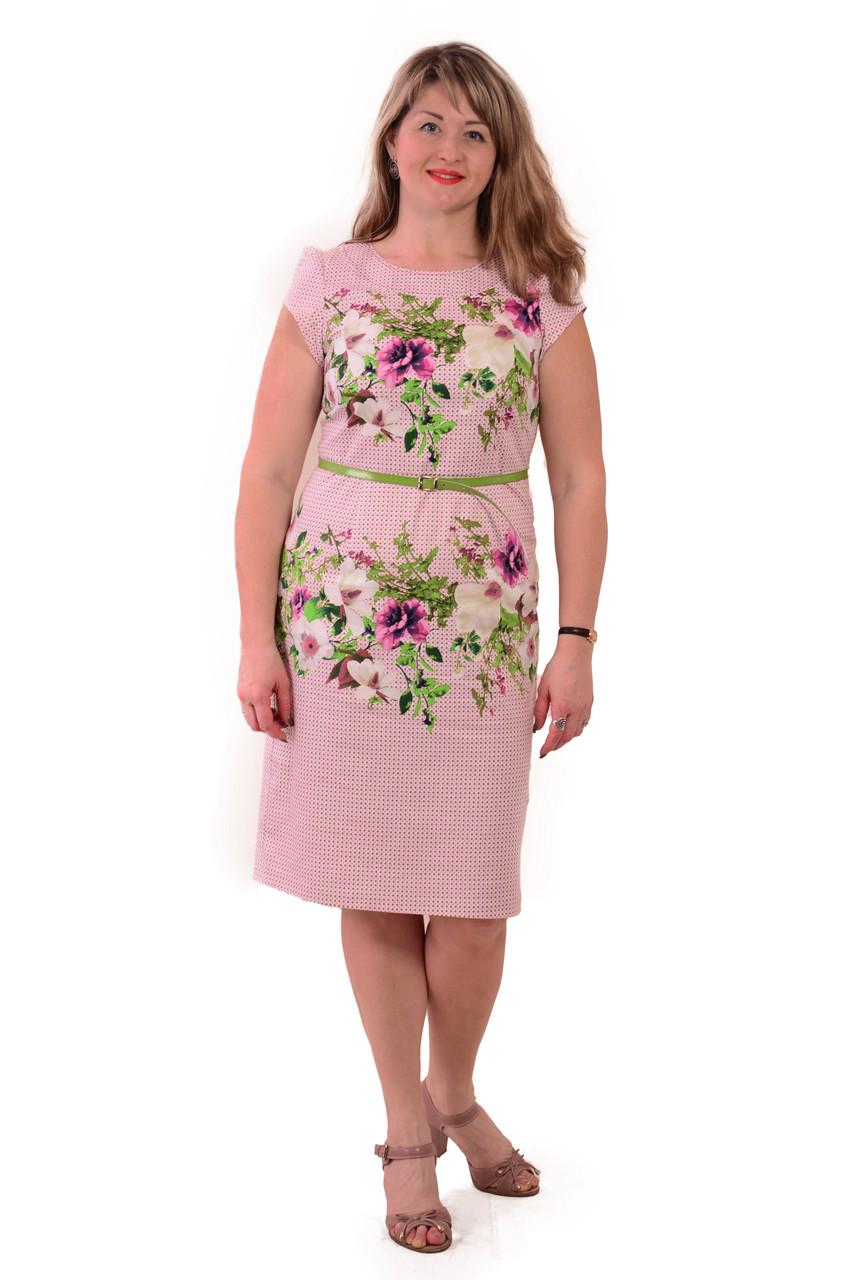 Рожеве плаття з квітами , 3 D ефект , бавовна , Пл 034.