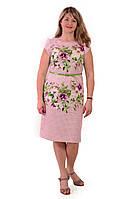 Розовое платье с цветами , 3 D эффект , хлопок , Пл 034.