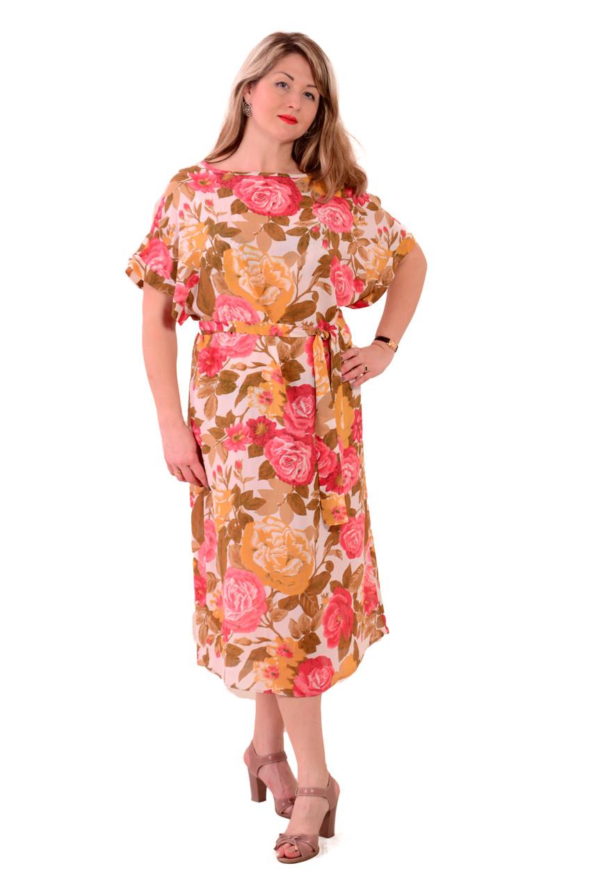 """Легкие платья , шелковое платье """"Пионы"""", пл 048."""