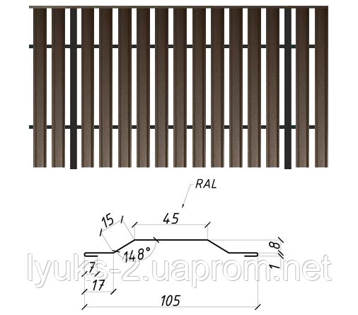 Евроштакетник металлический двусторонний глянец, 0,26