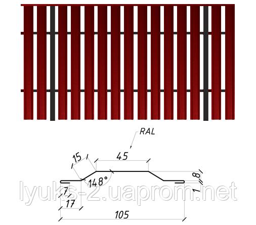 Металлический штакетник двусторонний РЕ, 0,4