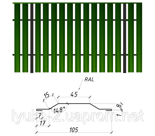 Двусторонний металлический штакетник глянец, 0,45мм