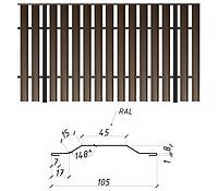 Металлический евроштакетник двусторонний матовый, 0,5мм