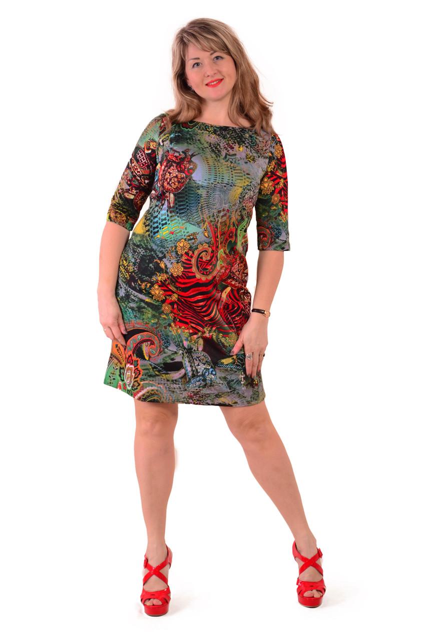 3bc04269dcf2546 Купить Зеленое платье трапеция ,трикотажное с ярким принтом , пл 183 ...