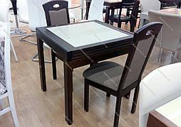 Кухонный стол трансформер Милан с камнем , стол Оникс Микс мебель, цвет темный орех