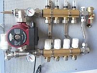 Коллекторный узел на 2 выхода без байпасса для водяного отопления. Фото для представления о конструкции блока