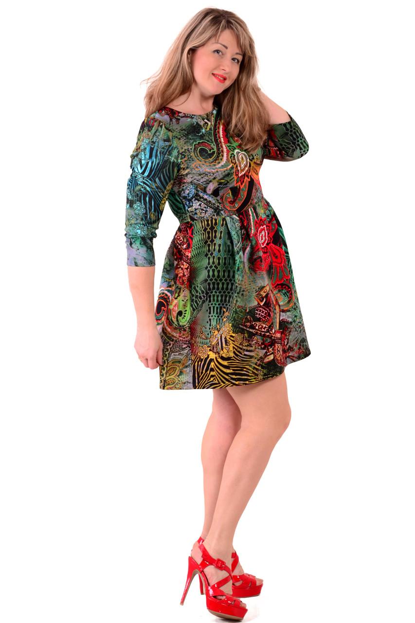 Зеленое платье с пышной юбкой ,Пл 184.