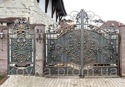 Элитные кованые ворота с калиткой, код: 01012