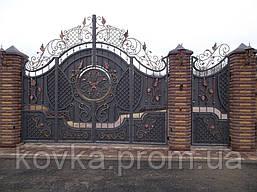Эксклюзивные кованые ворота с калиткой, код: 01013