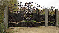 Ворота кованые распашные с калиткой, код: 01014