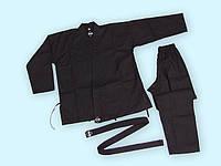 Кимоно карате черное LEADER  от 100-180 см вес 1 кг