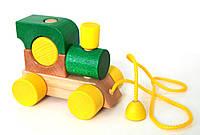 Деревянный паровозик с веревкой (зеленый)
