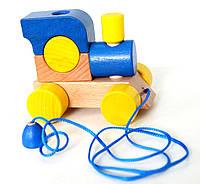 Деревянный паровозик с веревкой (синий)