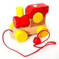 Деревянный паровозик с веревкой (красный)