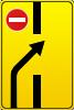 Информационно-указательный знак 5.24.1.2(Изменение направления движения нa дороге с разделительной полосой)