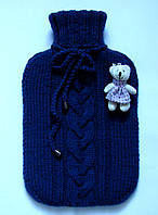 Вязаный чехол на грелку шерстяной темно-синий.