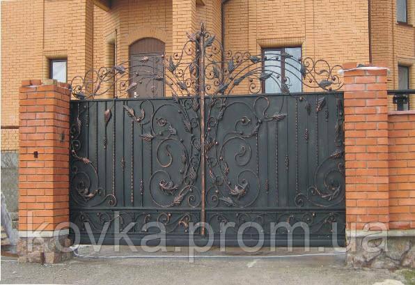 Кованые откаточные  ворота, код: 01046