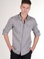 Мужская рубашка из натурального качественного льна . Слим прииталенная рубаха льняная