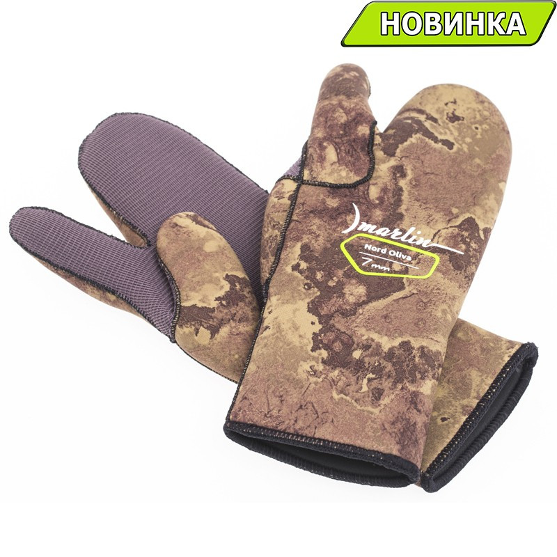 Перчатки камуфлированные Marlin Nord Oliva 7мм