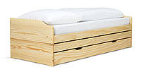 Кровать на три спальных места из массива дерева 035