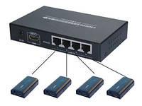 Комплект AVCom AVC747-TX + 4pcs AVC707-RX. 1передатчик + 4приемника передачи HDMI сигнала через IP