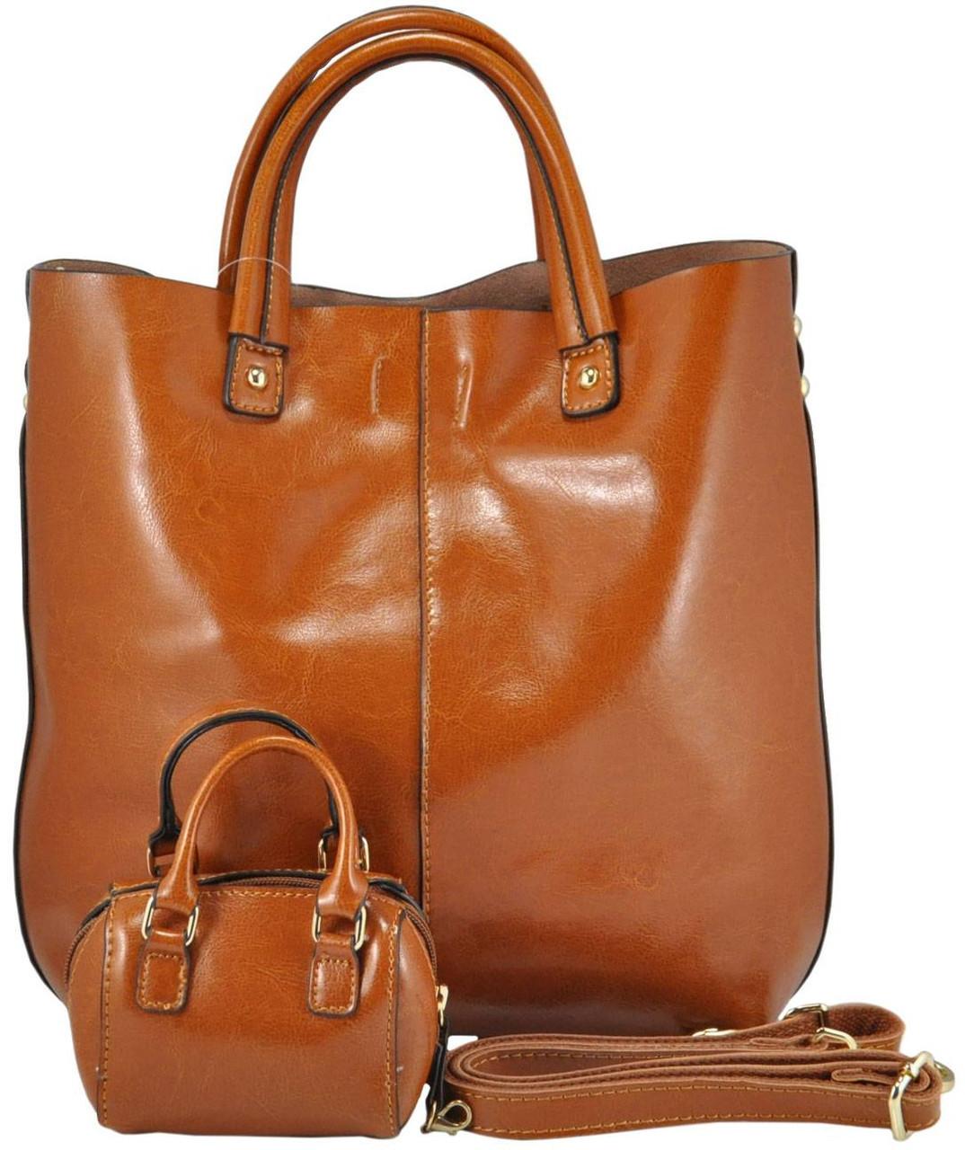 Женская кожаная сумка 8010 рыжая