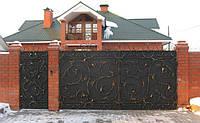 Ворота кованые распашные с калиткой