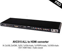 HD мультимедиа HDMI конвертер AVCom AVC515 с 2xUSB, 2xHDMI, 1xDVI, 1xVGA+Audio, 1xYPBPR+Audio, 1xCVBS+Audio в