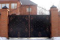 Кованые распашные ворота, код: 01056