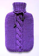 Вязаный чехол на грелку шерстяной цвета фуксии.