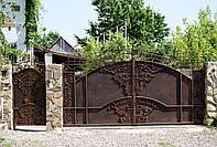 Кованые распашные ворота с калиткой, код: 01062, фото 1