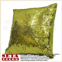 Декоративная наволочка 40х40 см расшитая пайетками  оливкового цвета