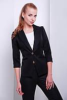 Черный женский приталенный пиджак с глубоким вырезом и рукавом три четверти
