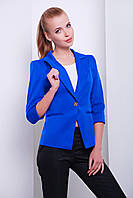 Яркий женский пиджак на одну пуговицу с рукавом 3/4 цвета электрик