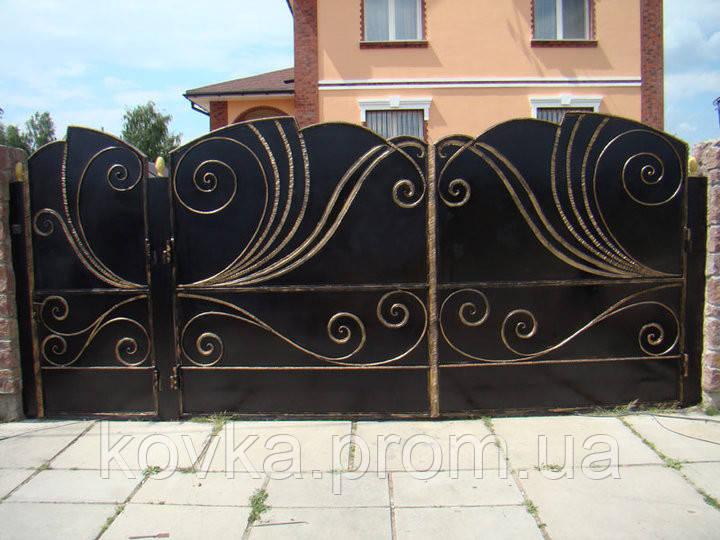 Кованые распашные ворота с калиткой, код: 01067