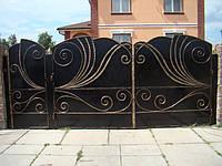 Кованые распашные ворота с калиткой, код: 01067, фото 1